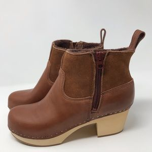 Swedish Hasbeens Zip-It Shearling Boot in Cognac